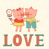 Valentines day card with two pigs in love Stock Photography