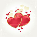 Valentines day card with two red hearts Royalty Free Stock Photos