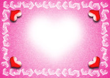 Valentines Day card. Valentine Day card, Heart frame on pink and white background, Indication of the bright beauty of love Stock Images