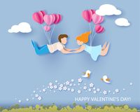 Valentines day card. Abstract background with couple in love flying, hearts balloons and blue sky. Vector illustration. Paper cut and craft style Stock Photography