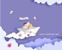 221b7c344fc Sun with hearts in flat design style. Happy Valentines day card Blue  background. Vector illustration. More similar stock illustrations. Valentines  day card ...