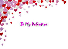 Valentines Day Card Valentines Day party invitation flyer background. With heart shapes Stock Image