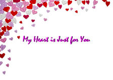 Valentines Day Card Valentines Day party invitation flyer background. With heart shapes Stock Images