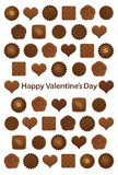 Valentine's Day card with various chocolates. Royalty Free Stock Photos