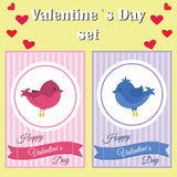 Valentines day card. Vector illustration with bird on love background. Royalty Free Stock Photo