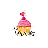Valentines day card. Vector lettering with painting cute cupcake Stock Photography