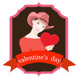 Valentines day card. Vector Stock Image