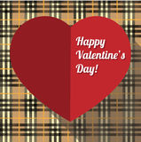 Valentines Day card. Vector Valentine's Day card with heart on a tartan background Royalty Free Stock Images