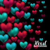 Valentines day card with volume hearts red and turquoise on black background. February 14. Vector Illustration. Royalty Free Stock Photos