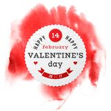 Valentines Day card on watercolor background. Valentines Day card on red watercolor background Stock Photography