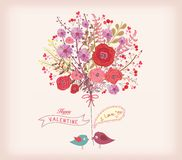 Valentines day card. watercolor flowers and bird. fall in love.  Stock Illustration
