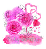 Valentines Day card with watercolor roses and hearts Stock Image
