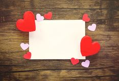 Valentines day card on wooden Invitation card Wedding Red Heart Love royalty free stock photos