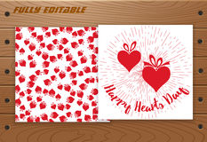 Valentines Day card on wooden table. Stock Photo