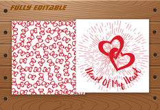 Valentines Day card on wooden table. Royalty Free Stock Image
