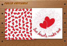 Valentines Day card on wooden table. Stock Images