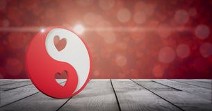 Valentines day card. Yin and yang symbol with hearts on wooden table, valentines card 3d render Stock Image