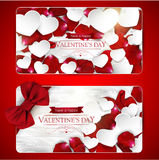 Valentines day cards with bow Royalty Free Stock Photography