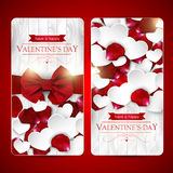 Valentines day cards with bow Royalty Free Stock Images