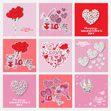Valentines day cards collection Royalty Free Stock Images