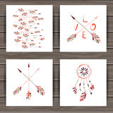 Valentines day cards with dream catcher and arrows Stock Photo