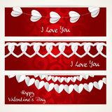 Valentines day cards in heart shape on abstract background Stock Photo