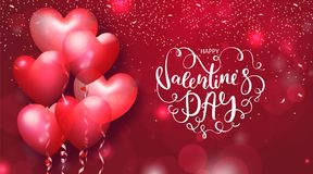 Valentines Day cards with heart shaped air balloons and beautiful Lettering. Vector illustration.  Royalty Free Stock Photos