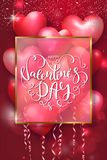 Valentines Day cards with heart shaped air balloons, gold frame and beautiful Lettering. Vector illustration. Valentines Day cards with heart shaped air Stock Photo