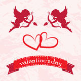 Valentines day cards with ornaments, hearts, angel and arrow Royalty Free Stock Photos