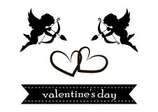 Valentines day cards with ornaments, hearts, angel and arrow Stock Photography