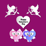 Valentines day cards with ornaments, hearts, angel and arrow Stock Images