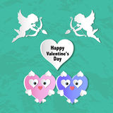 Valentines day cards with ornaments, hearts, angel and arrow Stock Image