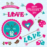 Valentines day cards with ornaments, vector. Illustration Stock Photos
