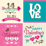 Valentines day cards with ornaments, vector. Illustration Royalty Free Stock Photos