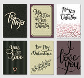 Valentines Day Cards. Romantic Modern Calligraphy Inscription including Spanish. Set of Hand Lettering Greeting Cards. Valentines Day Gift Tags. Vector stock illustration