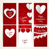 Valentines day cards set on abstract background Royalty Free Stock Photos