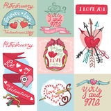 Valentines day cards set. Valentines day,romantic elements collection Stock Photo