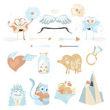Valentines Day cartoon icon set with Cupids stuff, love envelopes, hearts kitten Stock Photos