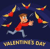 Valentines day. Cartoon man trying to catch flying hearts. Cartoon styled vector illustration on dark background. Elements is grouped. No transparent objects Stock Photography
