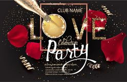 VALENTINES DAY CELEBRATION INVITATION CARD WITH GOLD SERPENTINE, LETTERS, ROSE PETALS AND BOTTLE AND GLASS WITH CHAMPAGNE. VECTOR ILLUSTRATION Stock Photography