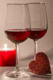Valentines Day Celebration. Romantic Valentines Day Celebration with candles and wine royalty free stock photos