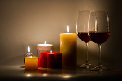 Valentines Day Celebration. Romantic Valentines Day Celebration with candles and wine stock photo