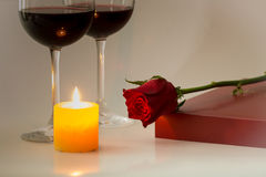 Valentines Day Celebration. Romantic Valentines Day Celebration with chocolate and wine stock photo