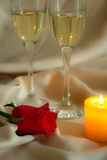 Valentines Day Celebration. Romantic Valentines Day Celebration with rose and champagne royalty free stock photography