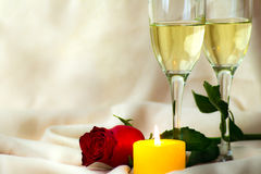 Valentines Day Celebration. Romantic Valentines Day Celebration with rose and champagne stock image