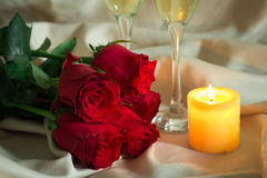 Valentines Day Celebration. Romantic Valentines Day Celebration with rose and champagne stock images