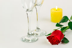 Valentines Day Celebration. Romantic Valentines Day Celebration with rose and champagne royalty free stock image