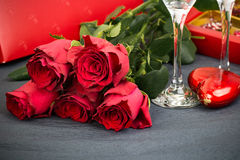 Valentines Day Celebration. Romantic Valentines Day Celebration with rose and champagne royalty free stock photo