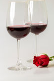 Valentines Day Celebration. Romantic Valentines Day Celebration with rose and wine stock image