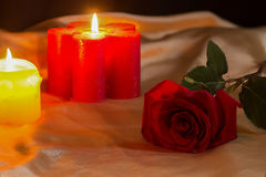 Valentines Day Celebration. Romantic Valentines Day Celebration with roses and candles royalty free stock photos